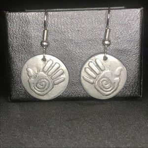 Silver hand earrings
